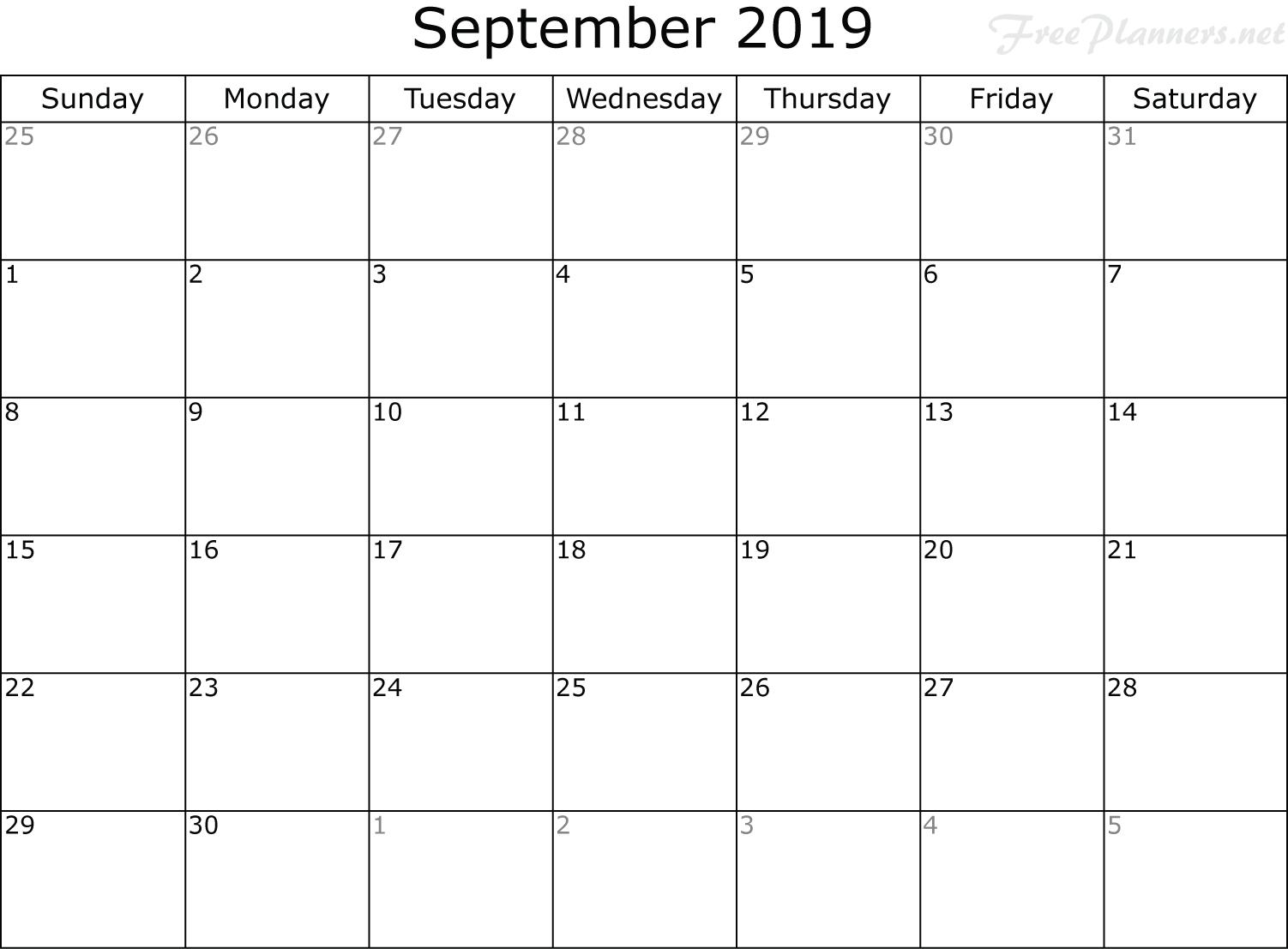Calendar Planner September 2019.2019 Monthly Calendar Monthly Calendar Planner Free Planners