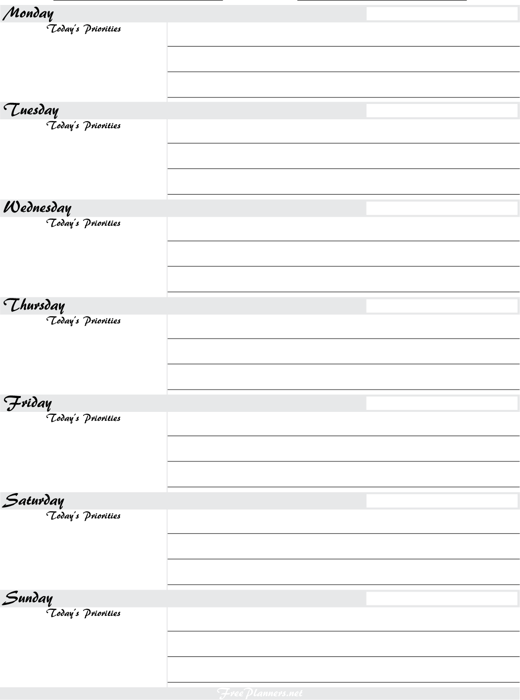 Weekly Planner 1   PNG. PDF Format
